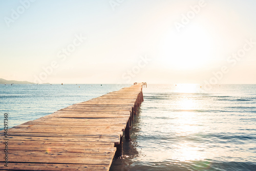 Lonely Pier On Mediterranean Beach - 146297360