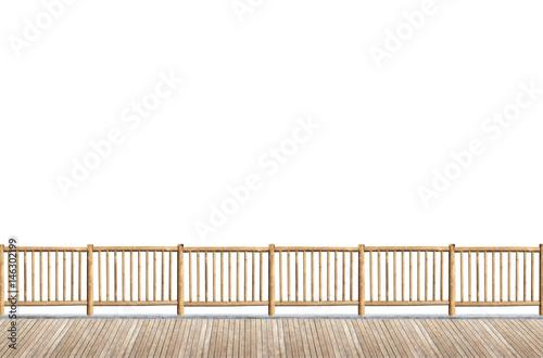 terrasse avec garde-corps en rondins de bois, fond blanc - Acheter ...
