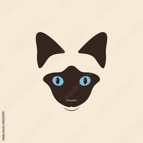 Cuadros en Lienzo Head siamese cat. Cute cartoon cat.