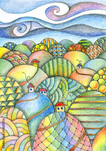 Foto op Plexiglas Zwavel geel Summer day. Fairy landscape. Colorful hills with houses and roads. Fantasy pencil drawing.