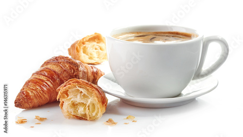 Fototapeta cup of coffee and croissants obraz
