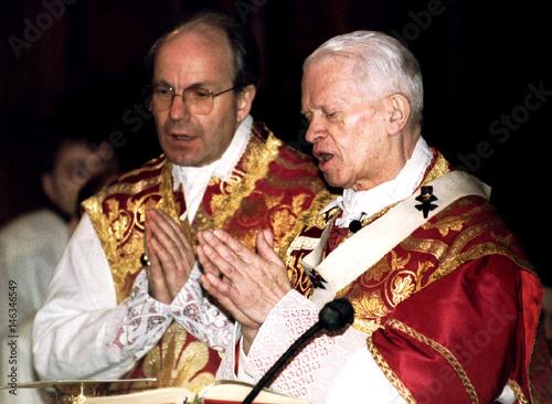 Archbishop of Vienna, Cardinal Hans Hermann Groer (R) leads Palm ...