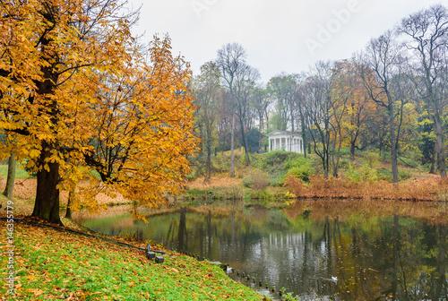 A Beautiful Autumn Landscape City Park In Warsaw Lazienki