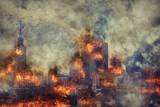 Apocalypse. Burning city, abstract vision. Photo manipulation - 146366791