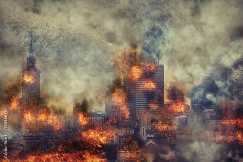 Fototapeta Apocalypse. Burning city, abstract vision. Photo manipulation obraz