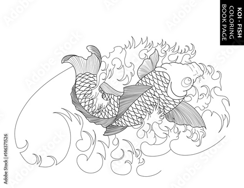 - Koi Fish With Japanese Waves Tattoo Design. Coloring Book Page - Buy This  Stock Illustration And Explore Similar Illustrations At Adobe Stock Adobe  Stock