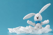 Rabbit Doll In Blue Background