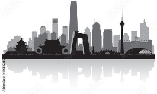 Beijing China city skyline silhouette Canvas Print