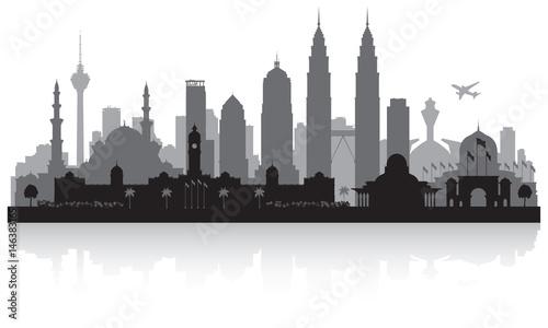 Kuala Lumpur Malaysia city skyline silhouette Wallpaper Mural