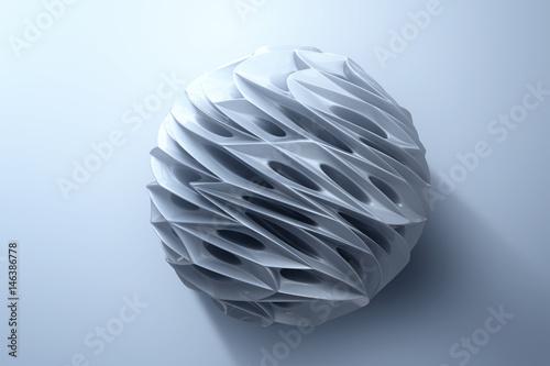 Plakat Abstrakcjonistyczny 3d rendering wysoka poli- srebna sfera z chaotyczną strukturą na białym tle. Fantastyka naukowa tło z wireframe i kula ziemska w pustej przestrzeni. 3d rendering