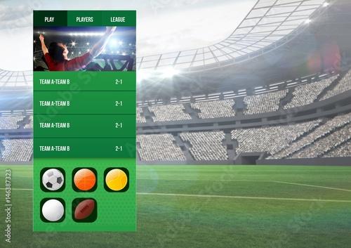 Fotografia  Betting App Interface stadium
