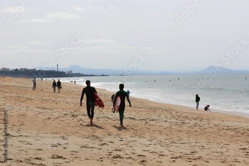 Plakat Plaża między Anglet i Biarritz we Francji