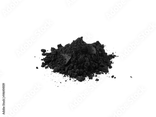 Activated charcoal power isolated on white Canvas Print