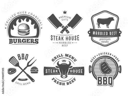 Fotografie, Obraz  smoked,  BBQ, burger, grill badges