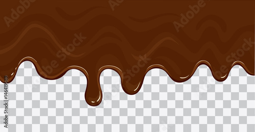 Fotografie, Obraz  Flowing melted chocolate cartoon vector illustration isolated on transparent bac