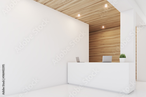 Light wooden reception, armchair, side
