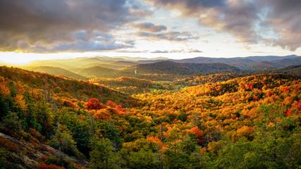 Panel Szklany Góry Autumn Sunset on the Blue Ridge Parkway from Flat Rock Overlook