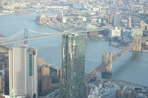 View at Brooklyn and Manhattan Bridges in the evening light Poster