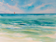 Tropical Beach Background.Picture Created With Watercolors.
