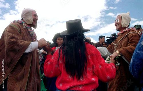 Presidents Abdala Bucaram L And Alberto Fujimori Perform The Dance Of Scissors