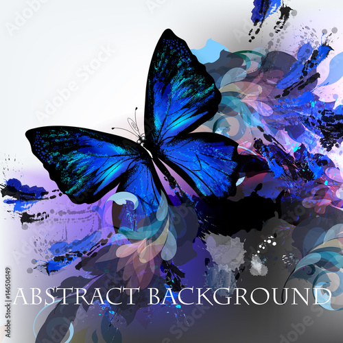 Foto op Aluminium Vlinders in Grunge Abstract vector background with ink colored spots and blue butterfly
