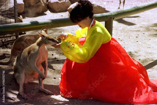 A Korean tourist wearing a traditional dress called a