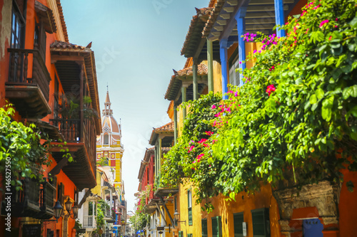 Fototapeta Flowers on the porch in old town Cartagena obraz