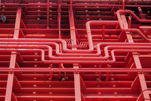 Red Pipes For Fuel Or Liquids