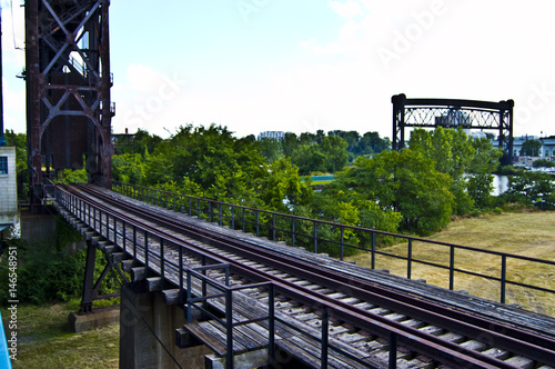 Old Abandoned Vintage Railroad Bridge in Cleveland Ohio - Buy this
