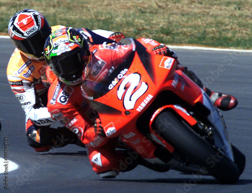 Max Biaggi Of Italy Leads The South African Grand Prix 500cc Race At