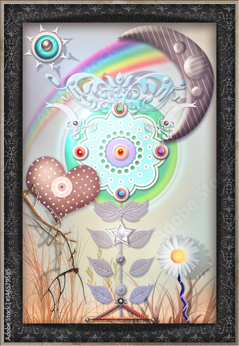 Canvas Prints Imagination Fairytales flower with heart,rainbow and moon