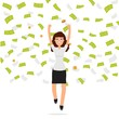 Businesswoman jumping in money rain. Finance , teamwork concept. Vector illustration.