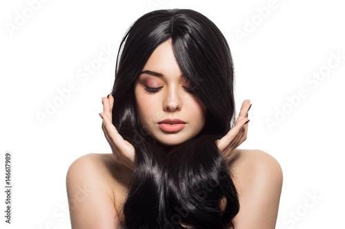 Fotografia, Obraz  Portrait Of Beautiful Young Brunette Woman With Long Wavy Hair