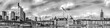 Monochrome vintage style panorama of Frankfurt / Main, Germany, Europe, black and white wide view with river Main, skyscrapers, cathedral and cranes