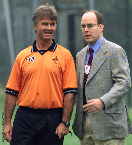 Dutch Soccer Coach Guus Hiddink L Talks With Prince Albert Of Monaco During Morning