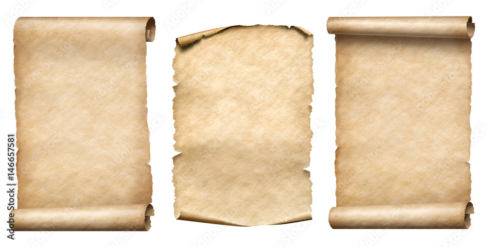Fototapety, obrazy: old paper scrolls or parchments realistc 3d illustration set