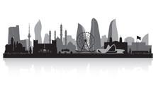 Baku Azerbaijan City Skyline Silhouette