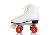 Leinwanddruck Bild - side view women white quad roller skate