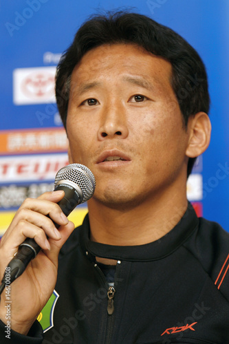 0e6ab62a8cb Jeonbuk Hyundai Motors FC s Kim Hyun-su of South Korea speaks to the media  during a news conference for the FIFA Club World Cup in Tokyo