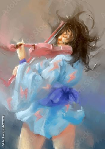 kobieta-maluje-skrzypce