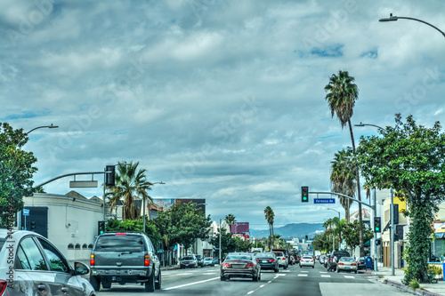 Poster Los Angeles Traffic in Beverly boulevard