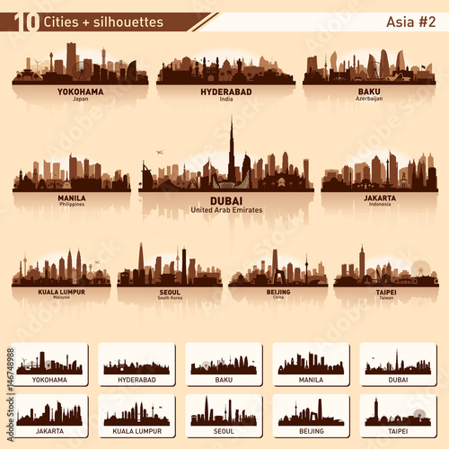 City skyline set 10 vector silhouettes of Asia #2 Wall mural