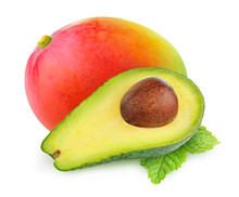 Isolated Fruits. Half Of Avocado And Whole Mango Fruit Isolated On White Background With Clipping Path