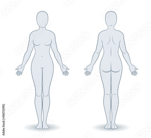 Stampa su Tela Vector silhouettes of woman front and back view