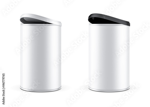 Cuadros en Lienzo Two metal Tin can packaging Mockup with black and white plastic lid cover, 3d re
