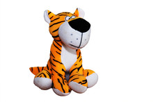 A Beautiful Soft Tiger Soft Toy On A White Background