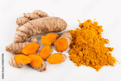 Canvas Prints Condiments Turmeric roots isolated on white background