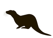 Silhouette Of A Sitting Otter