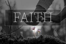 Faith Text Over Hands Nurturin...