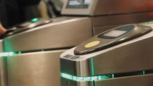 Rush Hour Metro Metal Wicket Control Panel With Green Lights, People Paying For Enter With Touch Cards